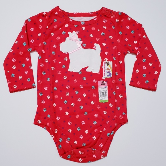 23ebaab9a Garanimals One Pieces | Red Onesie Baby Gril 12m Paw Print | Poshmark